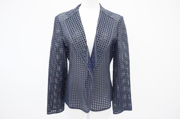 ハナエモリ パンチング羊革ジャケット