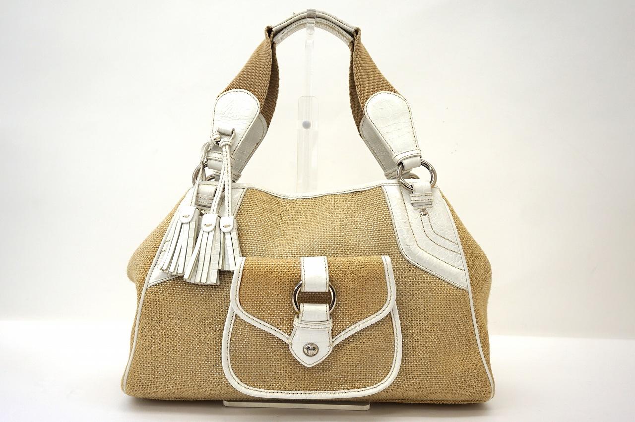 セリーヌ キャンバス×レザーフリンジ付きハンドバッグ