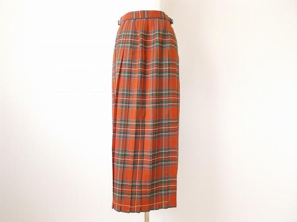 ヨークランド チェック柄プリーツ巻きスカート