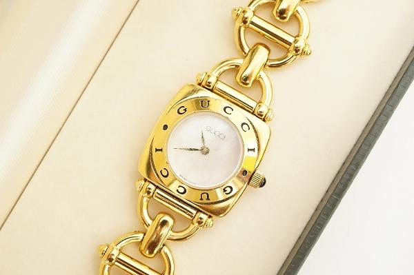 グッチ ホースビット6400Lシェル文字盤腕時計