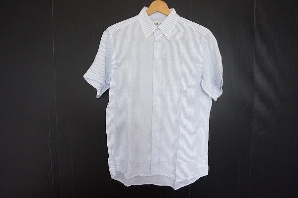メーカーズシャツカマクラ リネンストライプ半袖シャツ