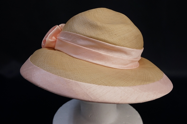 千代田帽子 リボン花麦わら帽子